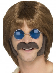 Brun hippiemustasch med polisonger