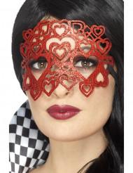 Hjärtformad glittermask vuxen