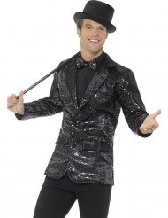 Stilig svart Broadwaykavaj med paljetter för vuxna till maskeraden