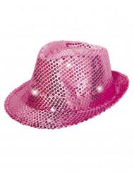 Glittrig rosa borsalino-hatt med LED