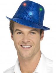 Blå borsalinohatt med paljetter och LED vuxen