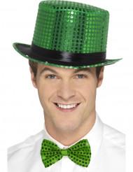 Grön cylinderhatt med plajetter och svart kant för vuxna