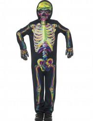 Självlysande neonfärgat skelett - Halloweenkostym för barn