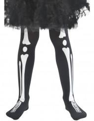Strumpbyxor med tryck av vita ben för barn till Halloween