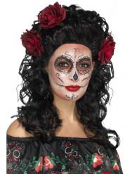 Lång svart peruk med rosor - Dia de los Muertos peruk för vuxna