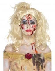 Sminkset för zombieprinsessan på Halloween