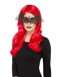 Svart balmask med fladdermus dam Halloween