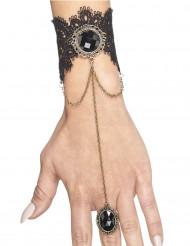 Gotiska smycken - Armband med ring till Halloween