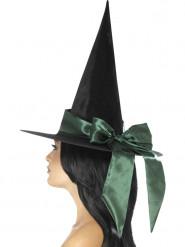 Svart häxhatt med grönt hattband