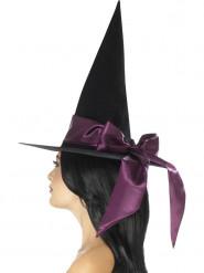 Häxhatt med lila rosett - Halloweenhattar för vuxna