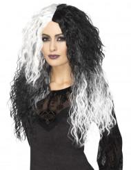 Tvåfärgad donna - Peruk med vågigt hår till Halloween