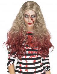 Blondin med blodiga toppar - Halloweenperuk för vuxna