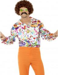 Satinliknande Hippieskjorta för vuxna med roliga tryck