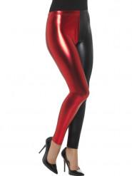 Tvåfärgade leggings i metallrött och svart - Maskeradtillbehör