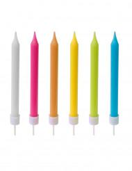 10 färggranna tårtljus