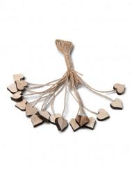 16 trähjärtan med snöre