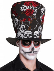 Dia de los muertos höghatt med dödskallar och rosor - Halloween hattar