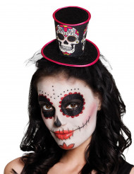 Mini hatt med dia de los muertos motiv - Halloween Hattar