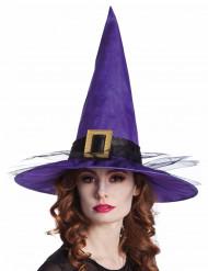 Lila häxhatt för vuxna med spänne - Halloween pynt