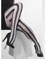 Randiga spiror i svart och vitt - Knästrumpor till Halloween