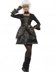 Svart barockklänning för vuxna med gyllene detaljer