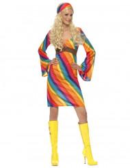 Regnbågs-hippie damdräkt
