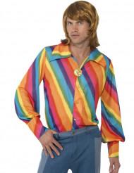 Regnbågsfärgad discoskjorta för vuxna till maskeraden