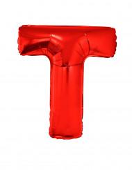 Bokstaven T - Aluminiumballong i rött 102 cm