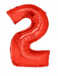 Siffran 2 - Röd aluminiumballong till festen 102cm