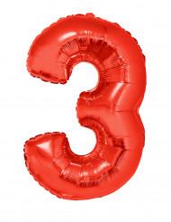 Siffran 3 - Röd aluminiumballong till festen 102cm