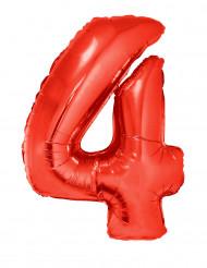 Siffran 4 - Röd aluminiumballong till festen 102cm