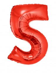 Siffran 5 - Röd Aluminiumballong till festen 102cm
