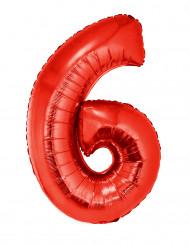 Siffran 6 - Röd aluminiumballong till festen 102cm