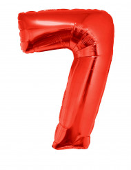 Siffran 7 - Röd aluminiumballong till festen 102cm