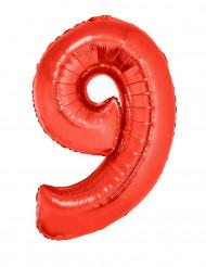 Siffran 9 - Röd aluminiumballong till festen 102cm