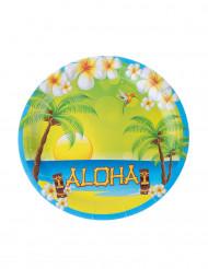 8 Aloha-kartongtallrikar till festen 23 cm