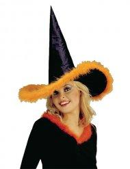 Häxhatt med orange fjäderkant - Halloween Hattar