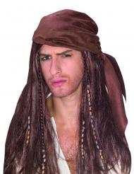 Brun piratperuk med bandana
