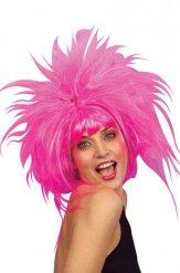 Galen rosa peruk i vuxenstorlek