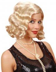 Vågig blond 20-talsperuk dam