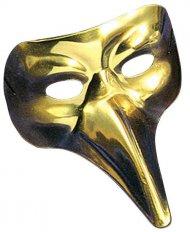 Guldfärgad venetiansk mask med lång näsa vuxen