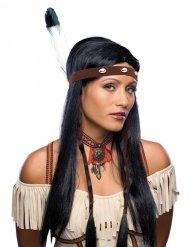 Vacker indianperuk för vuxna till maskeraden