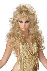 Lång blond 80-talsperuk dam