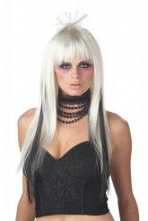 Långt vitt och svart hår - Peruk för vuxna