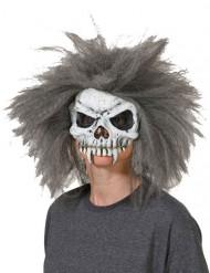 Skräckinjagande dödskallemask med grått hår till Halloween