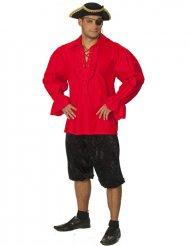Röd piratskjorta för vuxna