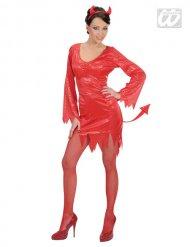 Djävulskostym med paljetter - Halloweenkostym för vuxna