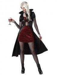 Röd vampyrdam - Halloweenkostym för vuxna