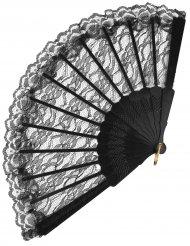 Spetsfläkt i svart för vuxna 24 cm