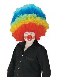 Enormt clownafro i regnbågens färger